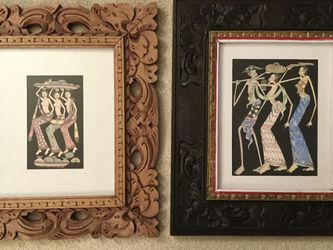 Beautiful Indonesian art with hand cut wood frame for Sale in Medina,  WA