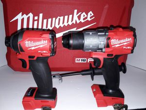 Milwaukee M18 fuel brushless 3rd generations hammer drill and impact drive 3 speed brand new tool only NUEVO no battery no charger for Sale in San Bernardino, CA