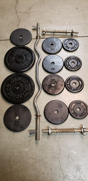Ez curl bar, dumbbells, weights for Sale in Huntington Beach, CA