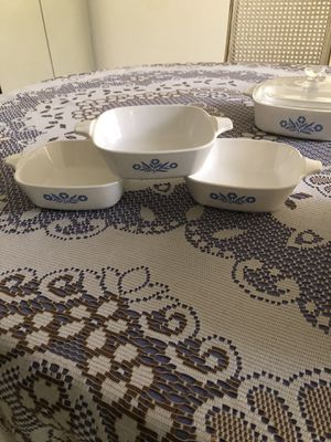 Vintage Corningware white set with blue flowers REDUCED!!!! for Sale in Margate, FL