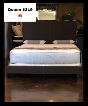 King cappuccino velvet studded bed with mattress and free delivery for Sale in Austin, TX