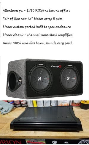 Kicker subs in kicker box and kicker amp for Sale in Allentown, PA