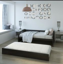 P26-6 .... Twin Size Trundle Platform Bed Frame with Wooden Slat Support for Sale in Walnut,  CA