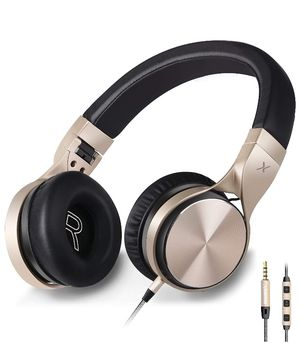 Headphones,in-5 Headphones with Microphone and Volume Control Folding Lightweight Headset for iPhone Cellphones Tablets (Black Gold) for Sale in Irvine, CA