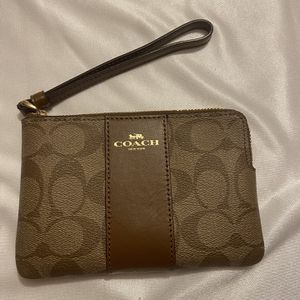 Authentic COACH wristlet Small Khaki/Saddle PVC Leather Signature Canvas for Sale in Arlington, VA