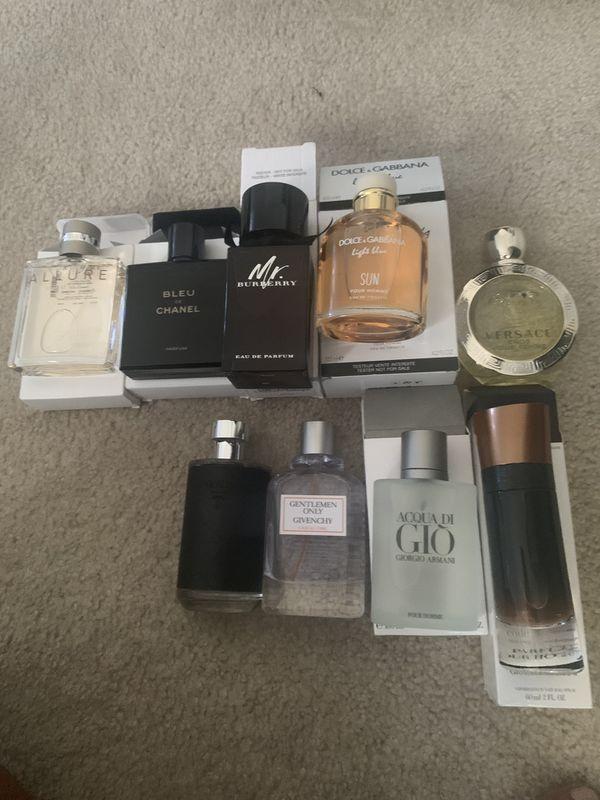 Chanel, Burberry, acqua, Versace cologne & perfume.