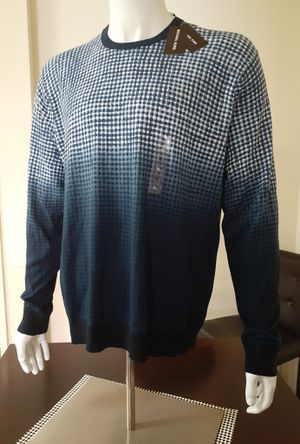 Michael Kors Men's Dip Dye Checked Cotton Pullover-Midnight Blue for Sale in Chula Vista, CA