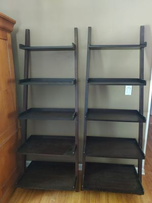 allen + roth Java Wood 5-Shelf Ladder Bookcase for Sale in Concord, NC