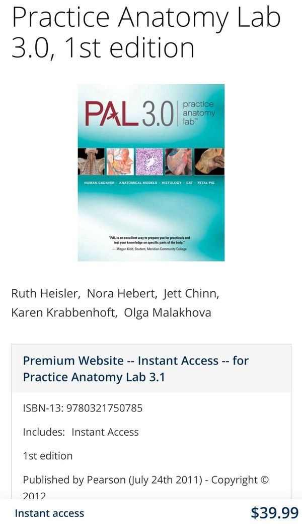Human Anatomy, 8th edition Textbook + Access Code + Practice Anatomy Lab 3.0 Disk