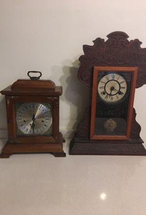 Antique Wood Clocks Hamilton Mantel & Waterbury Harlem Gingerbread Clock for Sale in Boca Raton, FL