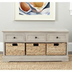 Gray Storage Bench with 3 Wicker Baskets and 3 Drawers Wood Home Decor for Sale in Rowland Heights,  CA