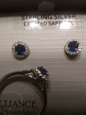 Sterling Silver Sapphire Ring & Earring Set for Sale in Charlotte, NC
