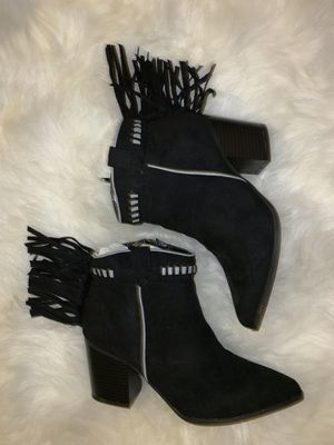 Black fringe pointy booties for Sale in San Rafael, CA