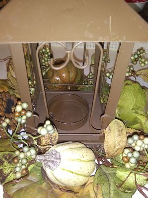 Fall candle lantern with beautiful fall foilige for Sale in Wichita, KS