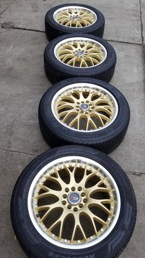 4 New 17X7.5 45 Offset 5x100/5x114.3 DRAG DR-19 Gold Wheels/Rims 225/50R17 Tires for Sale in Boston, MA