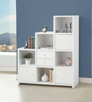Contemporary White Finish Bookcase Storage Cabinet for Sale in Temecula, CA
