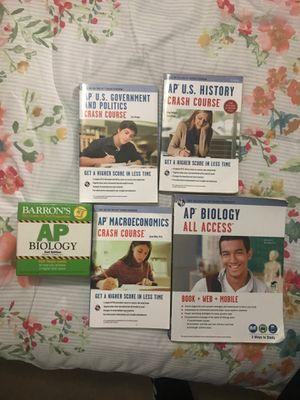 AP Crash Course/All Access Study Books for U.S. History, Gov, Macroeconomics, and Bio + Barron's AP Bio Flashcards for Sale in TEMPLE TERR, FL