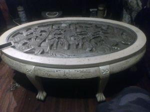 Nice rare antique hand carved Japanese coffee table missing the glass only amazing details asking 650 or best offer for Sale in Houston, TX