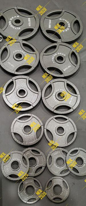Brand New in Box Fitness Gear 255 lb. Olympic Weight Plates for Sale in Glendale, CA