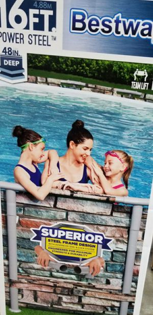 Bestway Power Steel 16' x 48'' Above Ground Swimming Pool Set for Sale in Sully Station, VA