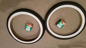 Two new Duro 20 x 2.125 white wall diamond pattern bicycle tires and tubes for Sale in Fullerton, CA