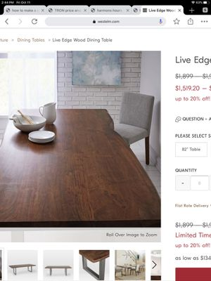 """WEST ELM LIVING EDGE DINING ROOM TABLE 68"""" L x 35 w x 30 1/2 h for Sale in Tinton Falls, NJ"""