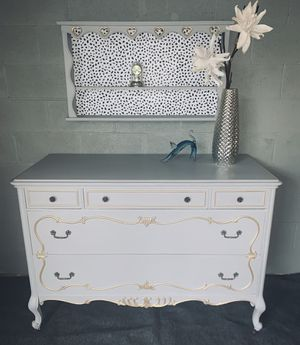 Completely refinishing dresser with shelves with gold akcents for Sale in Palos Hills, IL