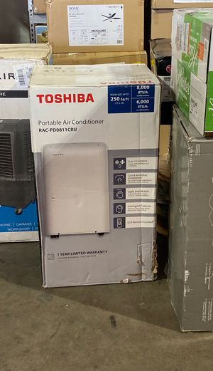 Toshiba 8,000 BTU (6,000 BTU, DOE) 115-Volt Portable AC with Dehumidifier Function and Remote Control in White for Sale in Phoenix, AZ