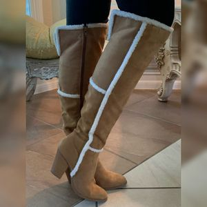 Tan suede with fur trim heeled under knee boots for Sale in Orlando, FL