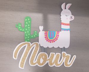 Llama birthday cake topped, glitter gold name for Sale in Garden Grove, CA