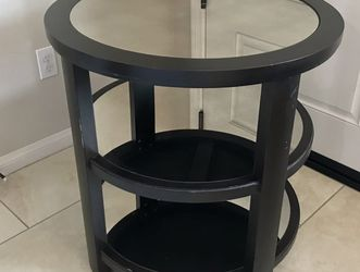 """Round Mirror Surface Wood Lamp Table, 28x28x29"""" Side Corner Table, Uttermost Monteith Dark Rubbed Aubergine Finish Like-New for Sale in Brea,  CA"""