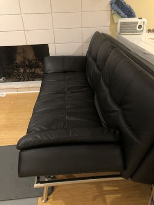 Black Leather Adjustable couch for Sale in Mercer Island, WA