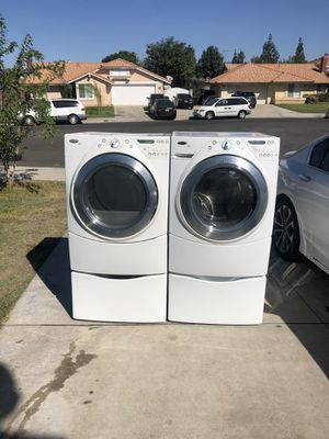 Whirlpool duet washer and dryer gas heavy duty super capacity plus smart wash good condition deliver and installation available for Sale in Bloomington, CA