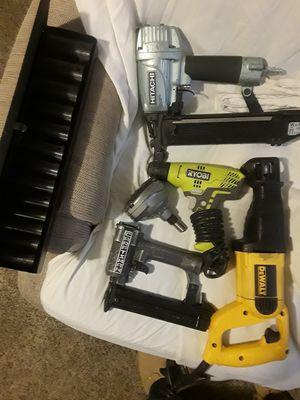 DeWalt Sawzall a Craftsman brad nailer Hitachi staple gun Palm hammer and a Ryobi corded drill for Sale in Pueblo, CO