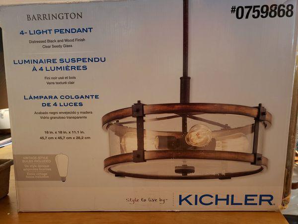 Kichler Lighting Barrington Distressed Black and Wood Rustic single seeded Glass