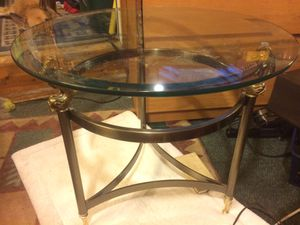 Antique bronze and glass table with coy fish design by pier one for Sale in Benzonia, MI
