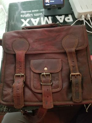 "11"" small Leather messenger bag shoulder bag cross body vintage messenger bag for women & men satchel man purse compatible with Ipad and tablet for Sale in Fontana, CA"