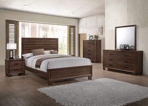 4 PIECE BEDROOM SET Queen SIZE Panel Bed Medium Warm Brown DRESSER NIGHT STAND MIRROR for Sale in Los Angeles, CA