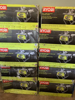 RYOBI 10 in. Table Saw with Folding Stand (dewalt) - IN BOX - $100 each no less for Sale in Spring, TX