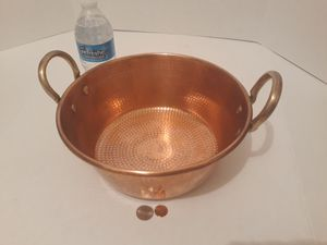 "Vintage Copper and Brass Metal Pan, Hammered Copper, Jelly Pan, Mixing Pan, Candy Pan, 10"" x 4"", Heavy Duty, Weighs 3 Pounds, Kitchen Decor for Sale in Lakeside, CA"