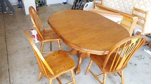 Oak Ball and Claw table and 3 chairs for Sale in San Luis Obispo, CA