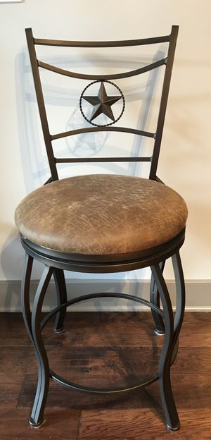 """3 - 24"""" stools with brown leather cushions for Sale in Sterling, VA"""