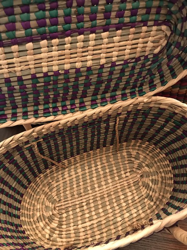 Mexican Colorful Woven Straw Baskets with Lids & Long Handles Storage Container Lot of 5