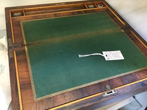 Antique mahogany writing drawing desk - portable with ink bottles and key for Sale in Goodyear, AZ