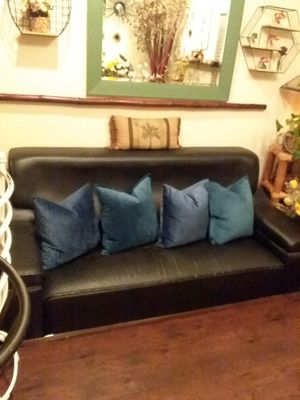 Black Leather Couch for Sale in Garden Grove, CA