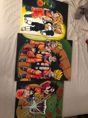 3 dragon ball hand paintings for Sale in Victorville, CA