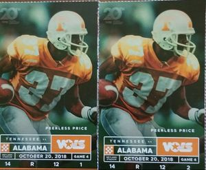 2 UT ALABAMA TICKETS LOWER SEC R ROW 12 for Sale in Knoxville, TN