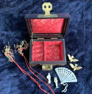Vintage Shanghai China Jewelry Box in Rosewood w Brass & Jade Medallion Chinese Antique for Sale in Pikesville, MD