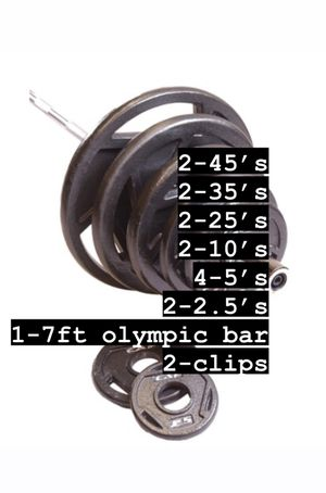 300LB OLYMPIC SET WITH GRIP PLATES, BAR, & CLIPS for Sale in Corona, CA