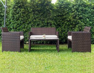 4 Piece Wicker Style Patio Set Outdoor Backyard Furniture w/Glass Top **New** for Sale in Naperville, IL